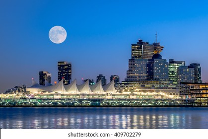 full moon over the city,Downtown Vancouver.BC Canada