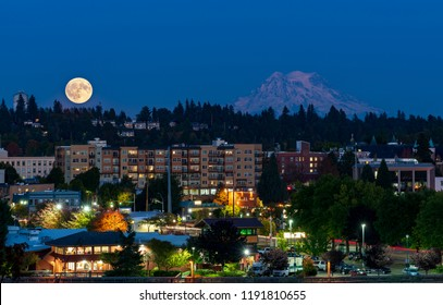 Full Moon Over Downtown Olympia, Washington with Mt. Rainier in the Background