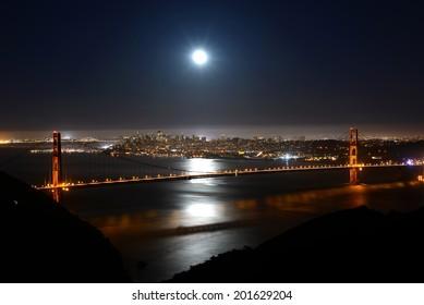 Full moon over the Golden Gate