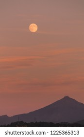 Full moon over Larrun / La Rhune mountain from Hondarribia, at the Basque Country.
