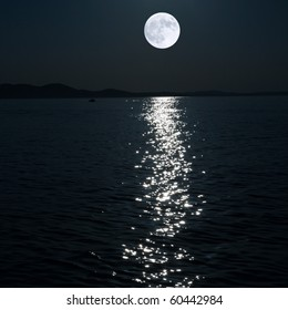 full moon over sea (collaged)