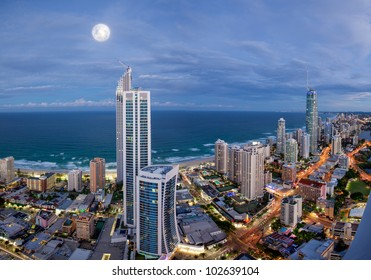 Full moon over Surfers Paradise, Gold Coast, Australia