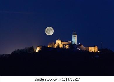 Full moon over Sveta Gora church