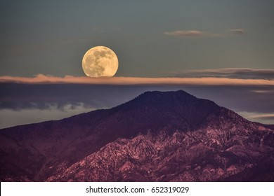 Full moon over Telescope Peak in Death Valley National Park.