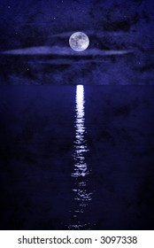 full moon over water collage