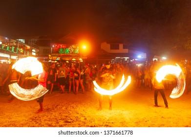 Full Moon Party activities at Koh Phangan, Surat Thani, Thailand. 9/8/2014.