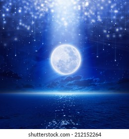 Full moon party background, night sky with full moon and reflection in sea, falling stars, glowing horizon. Elements of this image furnished by NASA