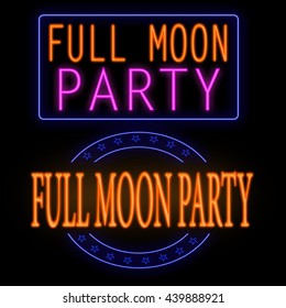 Full moon party glowing neon sign on black background