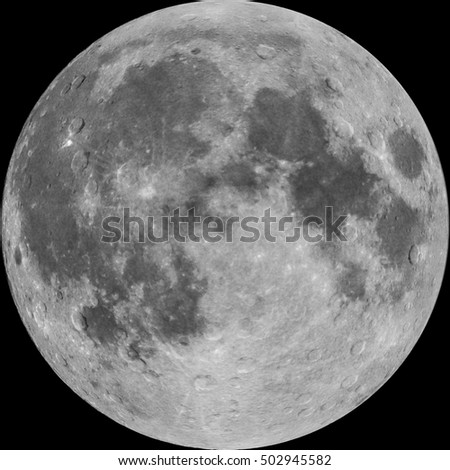 Full Moon, photo combined with illustrated craters, isolated on black background