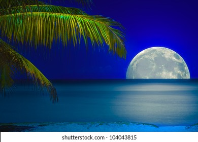 Full moon reflected on the calm water of a tropical beach