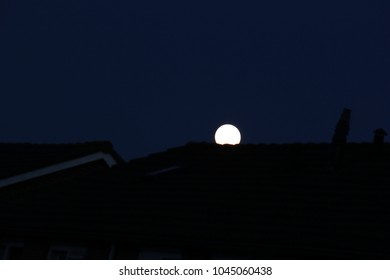 full moon rises above the roof tops of the houses in the evening