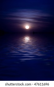 Full moon rises over huge body of water, empty composition
