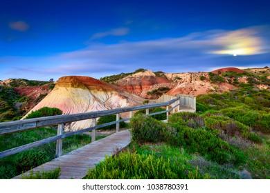Full moon rising above Hallett Cove park boardwalk, South Australia