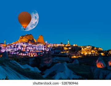 "Full moon rising above Uchisar castle, Cappadocia ""Elements of this image furnished by NASA"""
