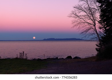 "Full moon rising over the ""Sleeping Giant"""