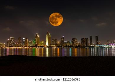 Full Moon San Diego Skyline