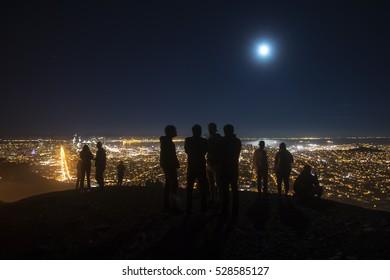 Full moon in San Francisco at night, from Twin Peaks, in San Francisco, California.