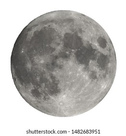 Full moon seen with an astronomical telescope isolated over white background