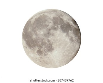 Full moon seen with a telescope from northern emisphere at night isolated over white background