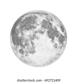 Full moon in space over white background. Elements of this image furnished by NASA