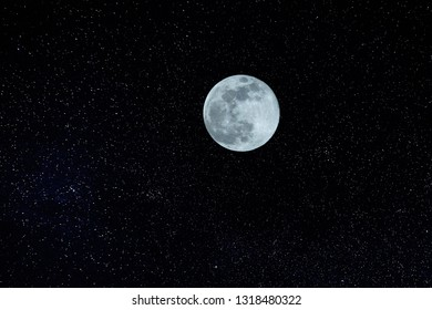 Full Moon With Star Field, space at clear night