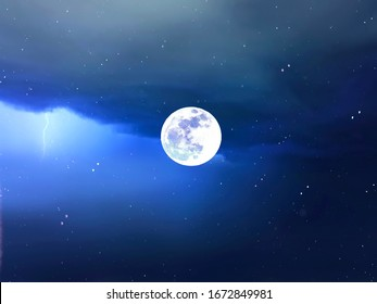 full moon Starry night  moon on blue  sky at sea, sunset at  summer season , sea dark blue water  reflection ,galaxy moonlight blue   background nature