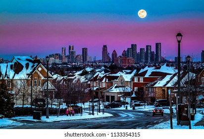 full moon sunset sky over Mississauga Ontario