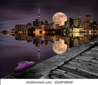 Full Moon Toronto Skyline City Lake Ontario Pier