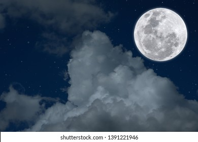 Full moon with white cloud in night.