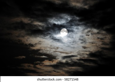 Full moon and white clouds on black night sky