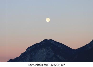 Full Moonrise over Mountain top