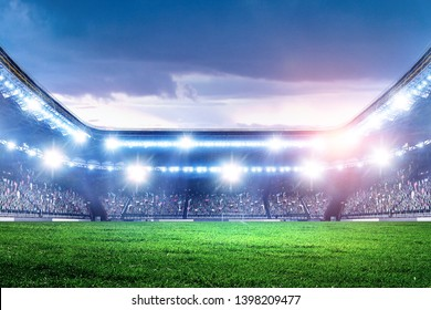 Full night football arena in lights