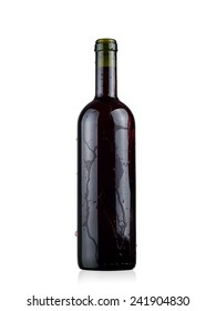 Full opened red wine bottle with drops