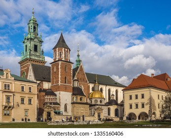 The full perspective view of Wawel Cathedral, located inside the Wawel Royal Castle in Krakow historical city center. Krakow, Poland.