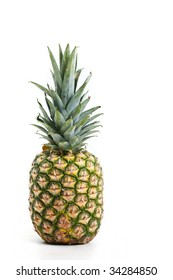 A full pineapple, isolated on white.