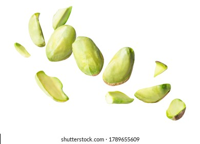 full pistachio piece floating in the air isolated on white background clipping path, full depth of field
