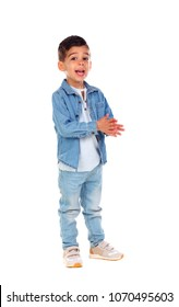 Full portrait of gipsy child with jeans isolated on a white background