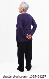 full portrait of an older woman's backs with the crossed fathoms on white background