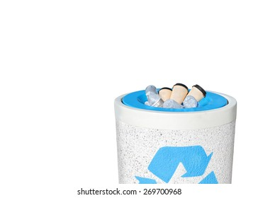 Full recycle bin filled to the top with empty plastic water bottles, paper coffee cups. Heavy rough texture stone trash can, blue recycling logo. Isolated on white. Copy space. Horizontal composition