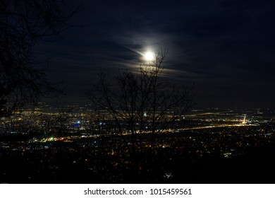 Full (red, blue) moon over Sofia city, Bulgaria, 31.01.2018