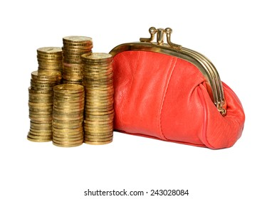 Full red and coins wallet on a white background.