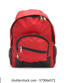 Full Red School Bag Isolated on White Background.