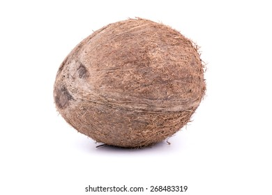Full ripe fruit with coconut hair on white background