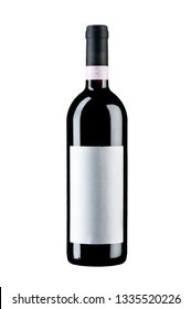 Full sealed bottle of wine with a blank label isolated on wiite background