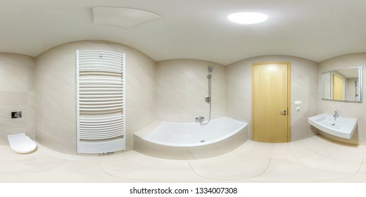 full seamlees panorama 360 degrees angle view in modern white empty restroom bathroom in equirectangular spherical projection. VR content