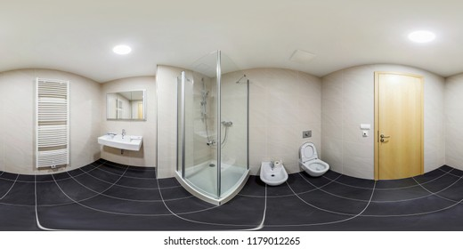 Full seamless 360 degree angle panorama Inside of the interior of empty white bathroom in minimalistic style in equirectangular spherical equidistant projection