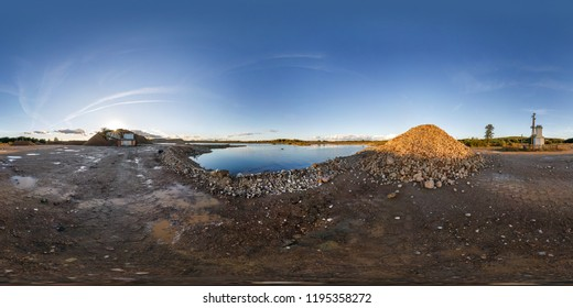 full seamless panorama 360 angle view near quarry flooded with water for sand extraction mining in equirectangular spherical equidistant projection for VR AR content