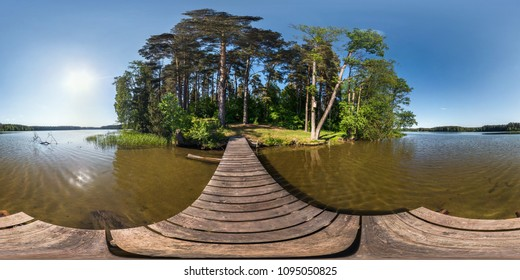 full seamless panorama 360 by 180 angle view on the pier of a huge forest lake in sunny summer day. 360 panorama in equirectangular projection, skybox VR content