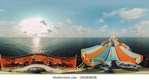 full seamless panorama 360 by 180 angle view container ship in the ocean, skybox VR content.