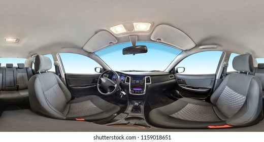 full seamless panorama 360 degrees angle view in interior fabric salon of prestige modern car in equirectangular equidistant spherical projection. skybox for vr ar content